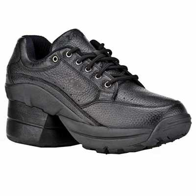 Z CoiL Pain Relief Footwear Womens Legend Rugged Outsole Enclosed Coil Black Leather Tennis Shoe